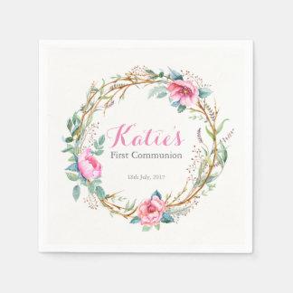Rosa Watercolorblumenwreath-Party-Servietten Papierserviette