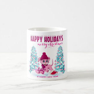 Rosa Weihnachtsentzückender Welpen-Cartoon Kaffeetasse