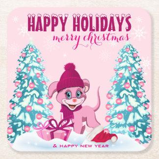 Rosa Weihnachtsentzückender Welpen-Cartoon Rechteckiger Pappuntersetzer
