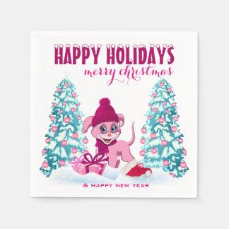 Rosa Weihnachtsentzückender Welpen-Cartoon Servietten