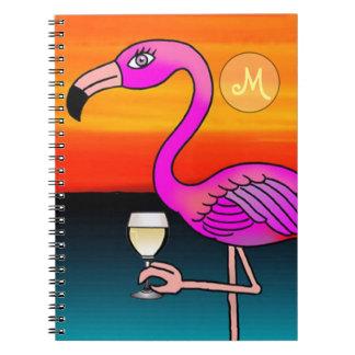 Rosa Weinkonsum Flamingo mit Monogramm Spiral Notizblock