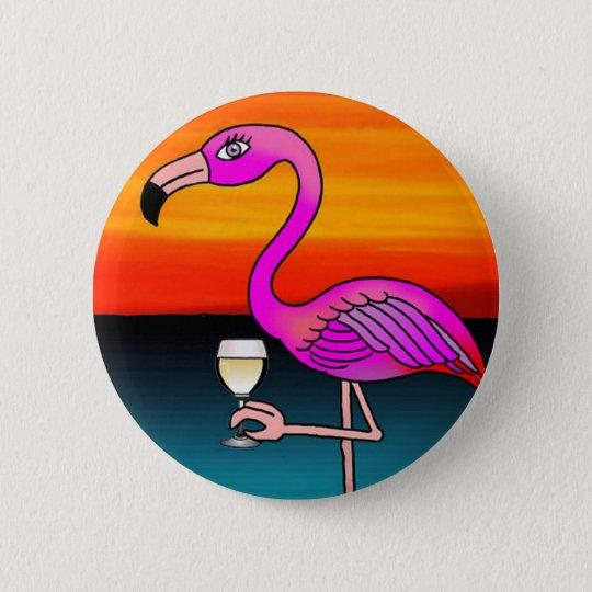 Rosa Weinkonsum Flamingo Runder Button 5,1 Cm