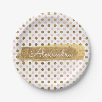 Rosa, Weiß-und Goldfolien-Tupfen u. Streifen Pappteller