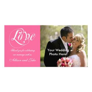 Rosa weiße Hochzeit danken Ihnen Foto-Karten-Schab Personalisierte Photo Karte