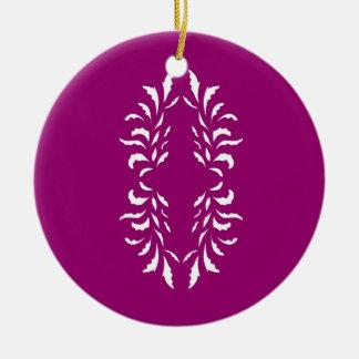 Rosa weiße Mandala Rundes Keramik Ornament