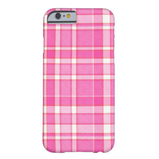 Rosa weißer karierter Tartan Barely There iPhone 6 Hülle