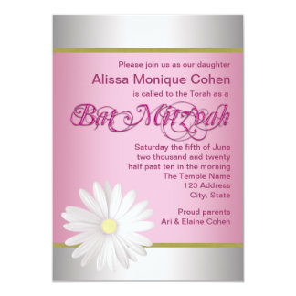 Rosa weißes Gänseblümchen-Schläger Mitzvah Karte