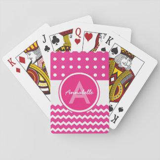 Rosa weißes Zickzack Monogramm personalisiert Spielkarten