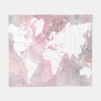 Rosa Weltkarte des Entwurfs 66 Fleecedecke