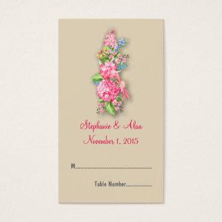 Rosa Wildblume-Blumenstrauß-Hochzeits-Platzkarten Visitenkarte