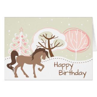 Rosa Winter-Geburtstag hübsches Brown-PferdeSnowy Karte