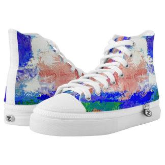 Rosa Wolken in ein blauer Himmel-gemalten hohen Hoch-geschnittene Sneaker