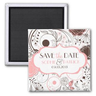 Rosa wunderlicher Blumen-Save the Date Magnet