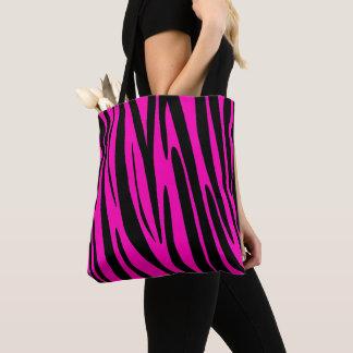 Rosa Zebra-Haut-Neonmuster Tasche