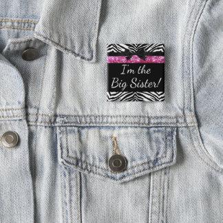 Rosa Zebra-Mädchen-neuer Babyparty-große Quadratischer Button 5,1 Cm