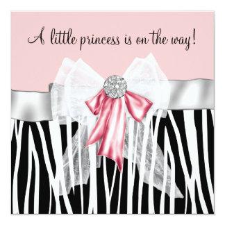 Rosa Zebra-Rosa-Schwarz-Prinzessin Babyparty Quadratische 13,3 Cm Einladungskarte