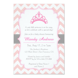Rosa Zickzack, Prinzessin Crown, 11,4 X 15,9 Cm Einladungskarte
