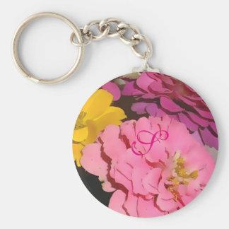 Rosa Zinnias mit Monogramm Keychain Schlüsselanhänger
