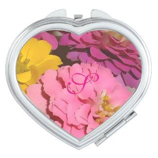 Rosa Zinnias-mit Monogramm kompakter Spiegel Taschenspiegel