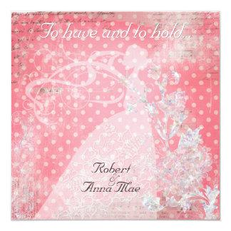 Rosa zu habende Tupfen und Griff-Hochzeit einladen Quadratische 13,3 Cm Einladungskarte