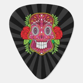 Rosa Zuckerschädel mit Rosen-Grün-Blätter Gitarren-Pick