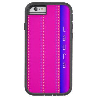 Rosa zum blauen Regenbogen-Diamant-Muster mit Tough Xtreme iPhone 6 Hülle