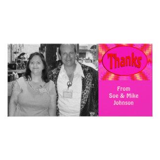 rosaroter Dank Fotokartenvorlage