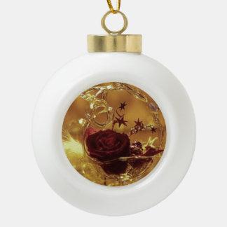 Rose 3D Keramik Kugel-Ornament