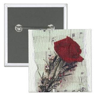 <Rose and Music> durch Kim Koza 2 Quadratischer Button 5,1 Cm