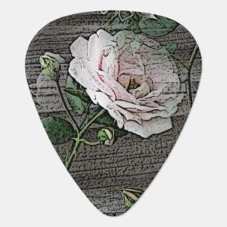 Rose auf verwittertem Holz Gitarren-Pick