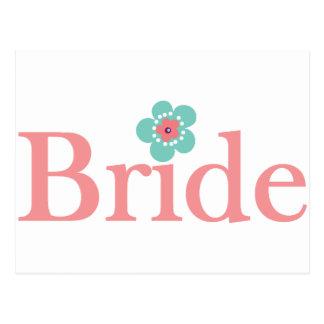 Rose de jeune mariée et fleur de turquoise carte postale