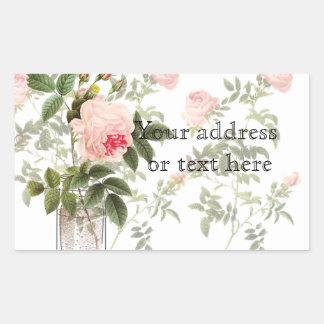 Rose des weißen Maurer-Glases und der Narzissen Rechteckiger Aufkleber