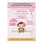 Rose doux de l'invitation SM-K de baby shower de Carton D'invitation 12,7 Cm X 17,78 Cm