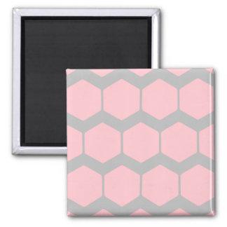 Rose et gris, rétro modèle de zigzag géométrique magnet carré
