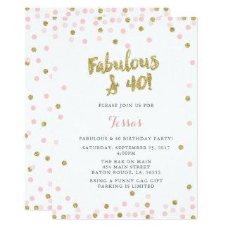 Rose et invitations fabuleuses et 40 d'or