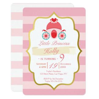 Rose et princesse Birthday Invitation d'or