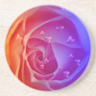 Rose mit den Herzen, blau Bierdeckel