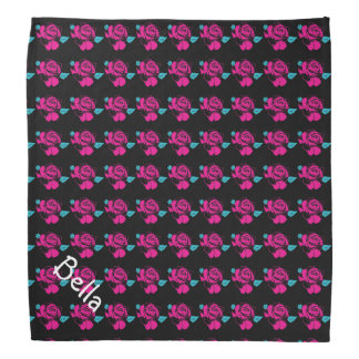 Rose Pattern Black Pink Mint Pet Name Template Kopftuch