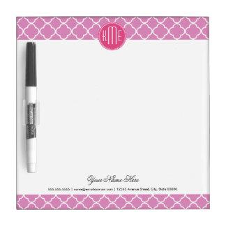 Rose rosa Quatrefoil mit kundenspezifischem Memo Boards