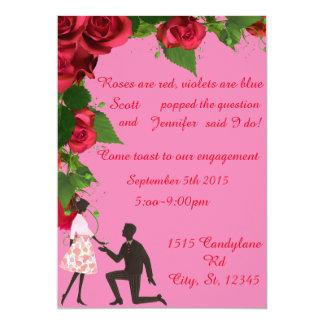 Rose sind rote Verlobungs-Party Einladung