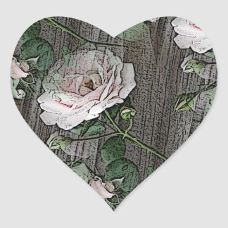 Rosen auf verwittertem Holz Herz-Aufkleber