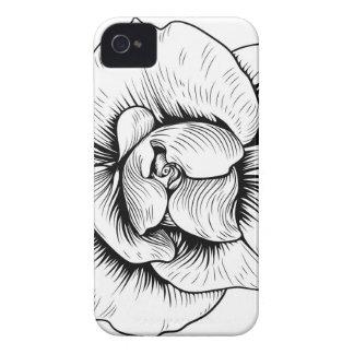 Rosen-Blume gravierte Vintage Case-Mate iPhone 4 Hüllen