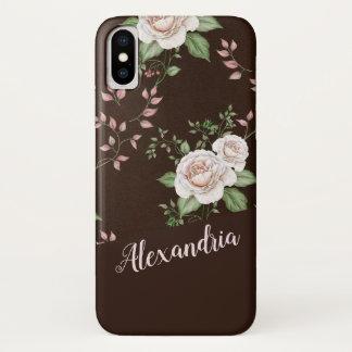 Rosen-Blumen-Musterbraungrün und -ROSA iPhone X Hülle