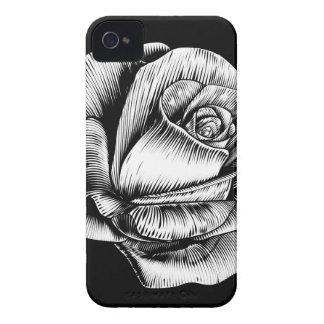 Rosen-Blumen-Vintager Art-Holzschnitt gravierte Case-Mate iPhone 4 Hülle