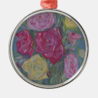 Rosen-Blumenstrauß Rundes Silberfarbenes Ornament