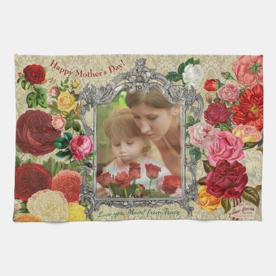 Rosen-extravaganter barocker Foto-Rahmen der Geschirrtuch