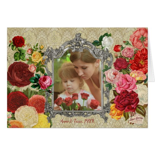 Rosen-extravaganter barocker Foto-Rahmen der Grußkarte