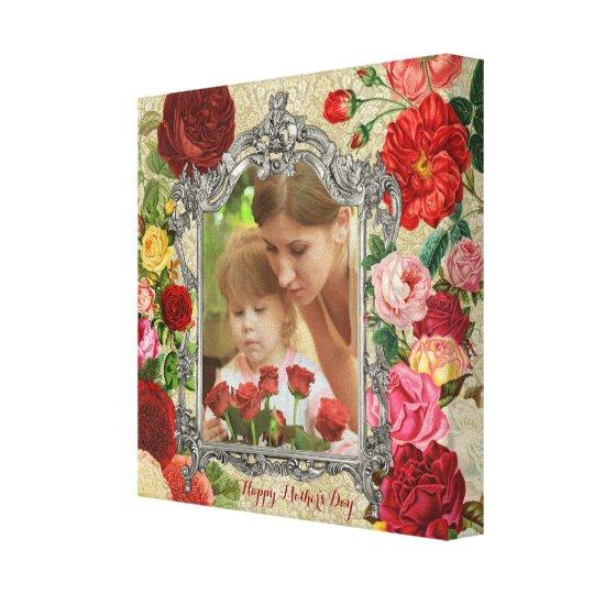 Rosen-extravaganter barocker Foto-Rahmen der Leinwanddruck