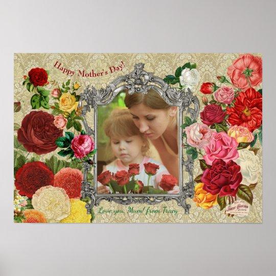 Rosen-extravaganter barocker Foto-Rahmen der Poster