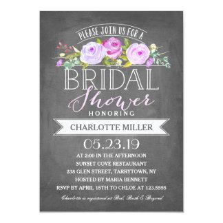 Rosen-Fahnen-Brautparty-Einladung lila 12,7 X 17,8 Cm Einladungskarte